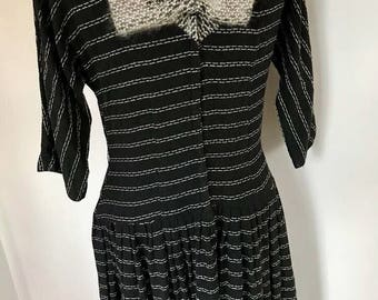 50s Vintage black ,white,gray dress with giant bow large