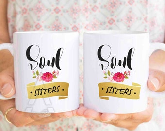 best friend mugs, soul sisters mug set, christmas gift for sister, bff, unique friendship gift, friendship gift, gift for best friends MU283