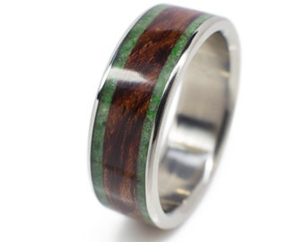 Wood Wedding Band In Bubinga And Jade