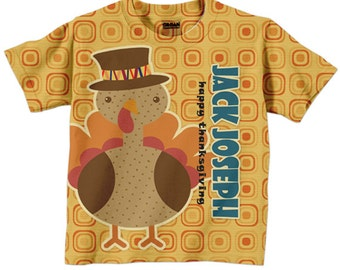 Thanksgiving Shirt, Personalized Boy or Girl Turkey Tshirt, Happy Thanksgiving