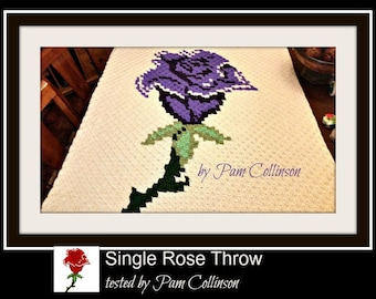C2C Graph, Single Rose Throw, C2C Graph, & Written Word Chart, Rose Afghan, Rose C2C, Rose Graph
