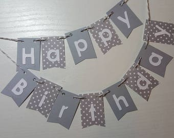 "Cake Bunting, ""Gray"", Happy Birthday, Cake Topper, Paper cake banner"