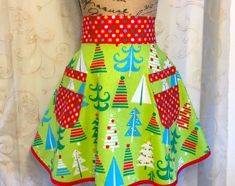 Women's Christmas Holiday Apron, Sparkle Apron, Green, Red, Blue, Polka Dots
