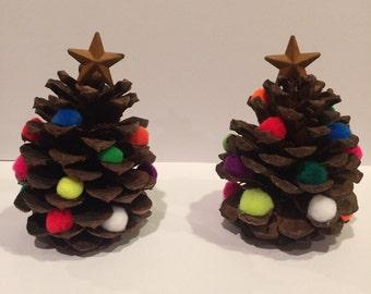 Pinecone Christmas Tree decoration, multi colored pom poms, star on top