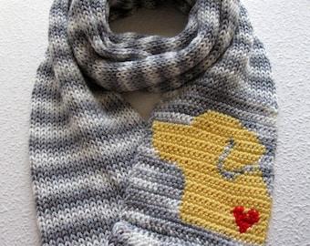 Yellow Labrador Infinity Scarf. Gray striped, knitted scarf with a yellow lab dog.  Knit dog scarf. Labrador retriever gift