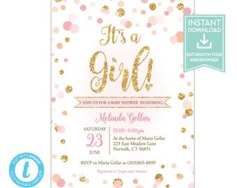 confetti birthday invitation editable template hooray pink