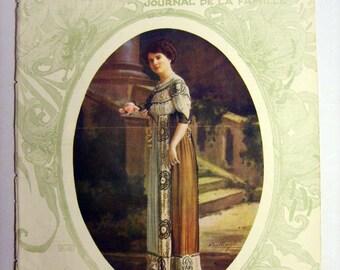 Superb Original Vintage (1910) FRENCH FASHION MAGAZINE Cover - (lot015)