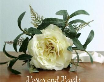 "Vanilla Ivory Open Rose, Fern, Olive Branch Bouquet and Boutonniere, Petite Single Flower Bouquet, Silk Wedding Flowers, ""Peace"""