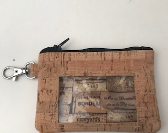Cork ID Wallet/Card Holder/Coin Pouch w/Clasp  - Cork - Natural