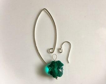 Shamrock Earrings, Sterling Silver Earrings / Emerald Green Swarovski Shamrock Sterling Silver Earrings - Saint Patricks Day