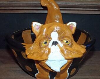 New Whimsical Folk Art Persian Cat Halloween Trick or Treat Bowl Pottery