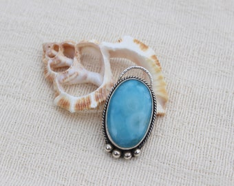 Larimar Necklace; Sterling Silver; Cabochon; Pendant; Boho Necklace