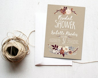 Bridal Shower Invitation Printable, Simple Bridal Shower Invite, Rustic Bronze, Silver, Cream, Neutral Colors, Kraft Paper