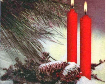 c1970s Christmas card, candles and cones, used, good shape