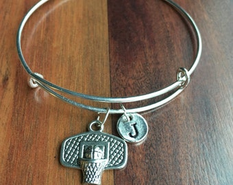 KIDS SIZE - Basketball Hoops initial bracelet, basketball charm bracelet, sports charm bracelet, Sports Jewelry, Silver basketball