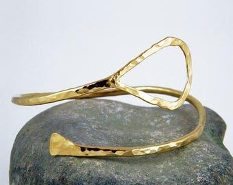 Gold bangle handmade Egyptian cuff bracelet