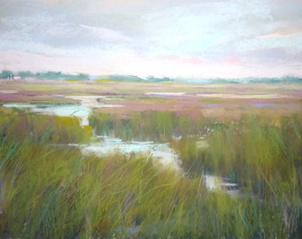 Low Country lowcountry Wetlands Green Landscape Original Pastel Painting 12x18