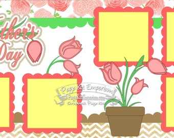 Scrapbook Page Kit Mother's Day Tulips Flowers 2 page Scrapbook Layout Kit 122