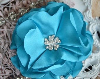 "Turquoise Fabric Flower, 3"" Fabric Flowers, Fabric Flowers, Satin Flowers, Fabric Flower, Satin Fabric Flowers, Satin Flowers"