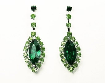 Emerald and Pale Green Painted Rhinestone Earrings