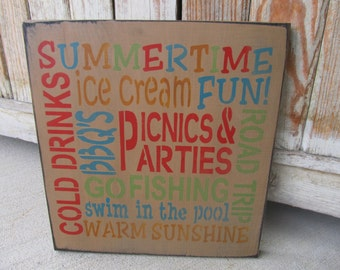 Primitive Summer Time Typography Hand Stenciled Wooden Sign GCC6224