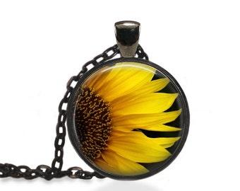 Bohemian Flower Pendant, Sunflower Jewelry, Nature Flower Necklace [A25]