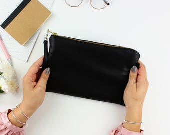 Black Leather Clutch Purse // Soft Leather Bag, Leather Clutch Purse, Leather Clutch, Evening Clutch, Leather Bag, Clutch Bag, Leather Pouch