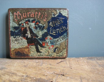 A vintage English cigarette tin, Muratti's After lunch cigarettes, tin box