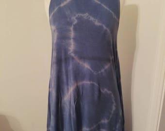 Shibori dyed sleevless swing dress