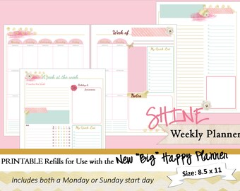 BIG Happy Planner PRINTABLE Weekly Planner Inserts / Refills - PDF 8.5 x 11 | Happy Planner | Create 365 | Me & My Big Ideas | mambi