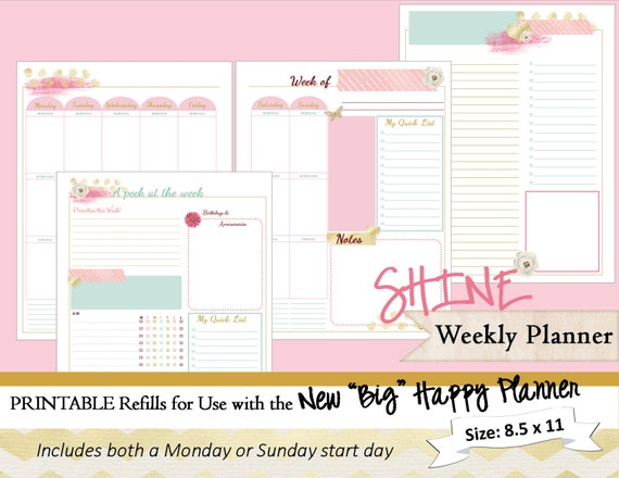 BIG Happy Planner PRINTABLE Weekly Planner Inserts / Refills