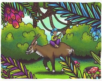 Critically Endangered Animal Saola Print