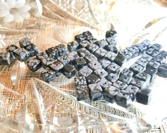 Snowflake Obsidian - 6 mm Cube beads - 66 quantity