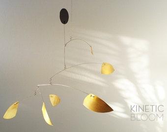 midcentury modern, calder mobile, brass mobile, kinetic art sculpture CURVE
