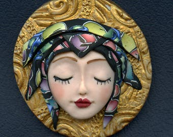 Face cab with abstract Caned hat   OOAK Polymer clay Detailed  ANGOG 2