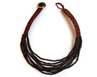 Brown choker necklace, Multi strand choker, Seed bead necklace, Brown necklace, Micro macrame jewelry, Seed bead choker, Macrame necklace