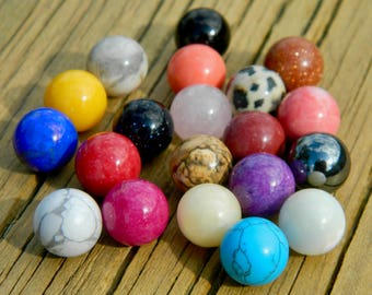 20 - 10mm Semi Precious Stones Marbles for interchangeable jewelry