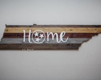 Tennessee wall art  State of Tennessee Home Wood Sign TriStar Tennessee flag 6ft