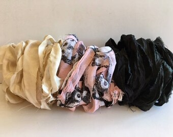 Silk Sari Ribbon-Antique White, Pink Pattern, Black Recycled Sari Ribbon-9 Yards