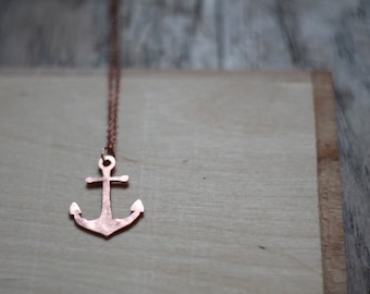 Anchor Necklace- In Gold, Bronze, or Copper- Statement, Hand Carved