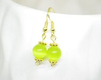 Green Earrings, Tiger's Eye Earrings, Gold Earrings, Dangle Earrings, Round Earrings