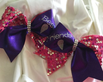 Best Friends Pink Sequin and Purple Cheer Bows