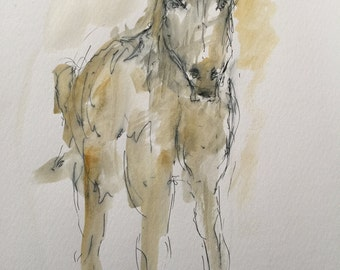 "Original pen and ink drawing with watercolor wash ""Lilly"""