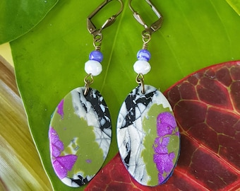 BonnieAndBlu Handmade Oval Polymer Clay and Beaded Drop Earrings - antique-style fan lever back ~ persephone design~