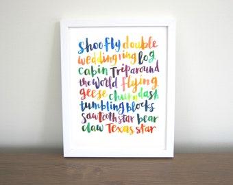 Hand-lettered Quilt Love Art Print