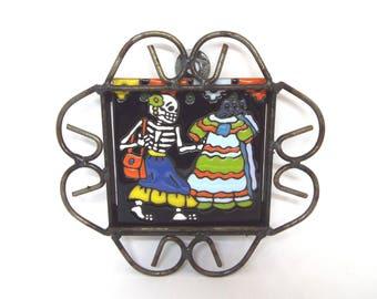 Skeleton Girl , Shopping Girl Talavera Tile 4x4, Day of the Dead, Halloween Decor, Backsplash, Mexican Folk