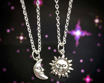 Best Friends Sun and Moon necklaces, Friendship, Soul mates