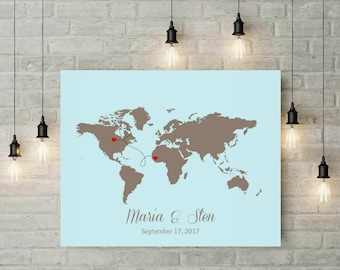 Custom canvas map etsy custom wedding guest book wedding decor world map canvas world map poster gumiabroncs Image collections