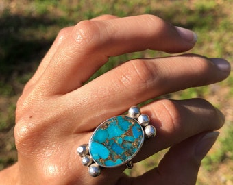 Turquoise and Copper Bornite Ring Sterling Silver sz 6 1/4