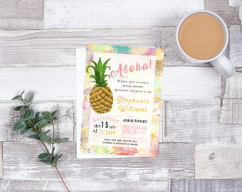 Printable Bridal Shower Invitation 5x7 Flat Card Customizable Download| Pineapple Collection